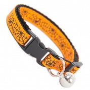 Orange Spiders Web Spooky Halloween Cats Collar
